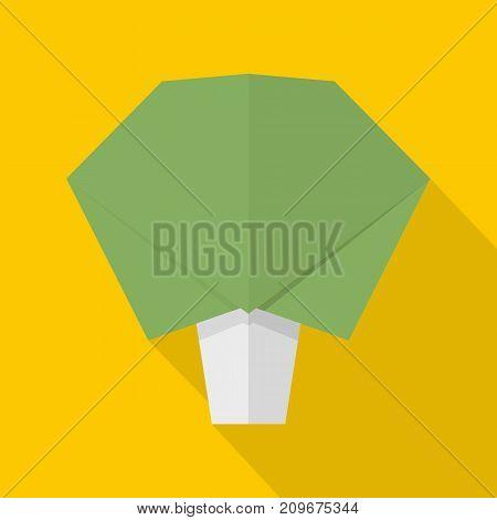 Origami broccoli icon. Flat illustration of origami broccoli vector icon for web