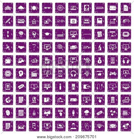 100 website icons set in grunge style purple color isolated on white background vector illustration
