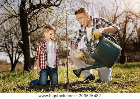 It will grow. Smiling kid keeping mouth opened and standing on knees near tree while talking to his father