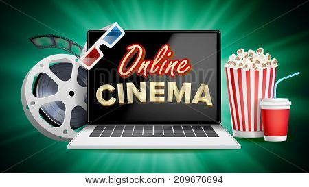 Online Cinema Vector. Banner With Laptop. Film Industry Elements. Film Tape For Cinematography. Billboard, Promo Concept Illustration.