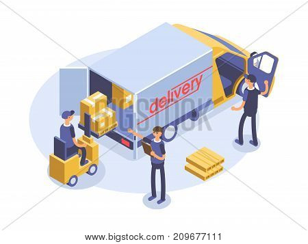 Fast delivery concept. Van, man and cardboard boxes. Product goods shipping transport. Isometric illustration.