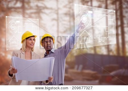 Man gesturing while standing with female architect against construction worker working at site