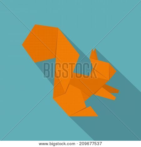 Origami squirrel icon. Flat illustration of origami squirrel vector icon for web