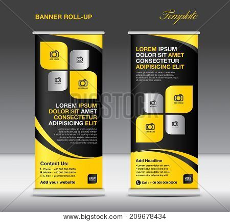 Roll up banner stand template, stand design, banner template, Yellow banner, advertisement, flyer, vector illustration
