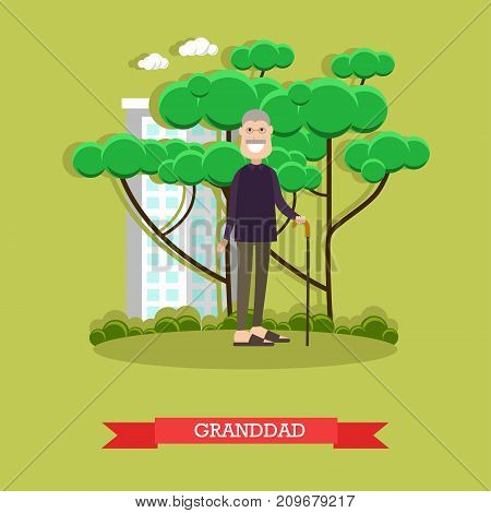 Vector illustration of grandfather with walking cane. Granddad flat style design element.