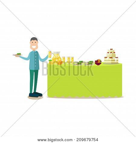Vector illustration of diner male serving himself at hotel buffet. Hotel people flat style design element, icon isolated on white background.