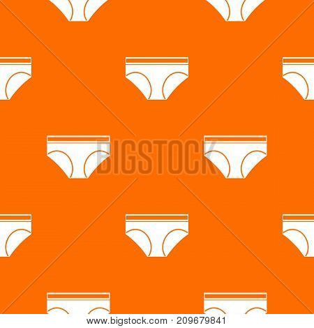 Woman underwear panties pattern repeat seamless in orange color for any design. Vector geometric illustration