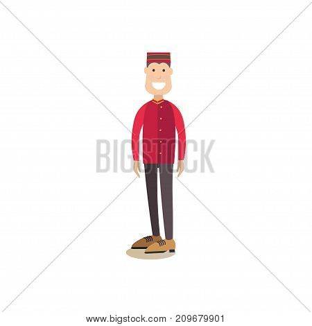 Vector illustration of hotel porter, bellhop or bellman in uniform. Hotel people flat style design element, icon isolated on white background.