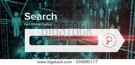 Digital composite image of search engine page against binary codes and people icons