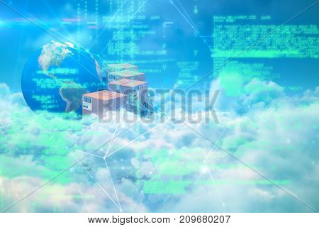Image of data against idyllic view of white cloudscape against sky