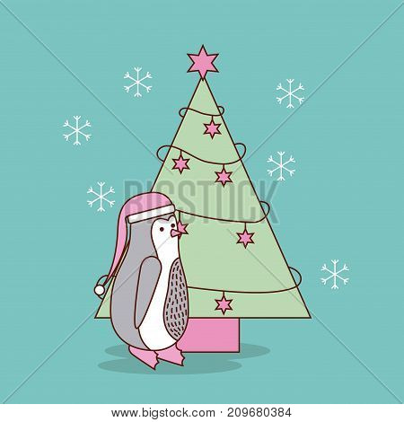 cute christmas penguin with tree pine decoration celebration vector illustration