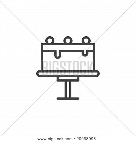 Tart on cake stand line icon, outline vector sign, linear style pictogram isolated on white. Symbol, logo illustration. Editable stroke