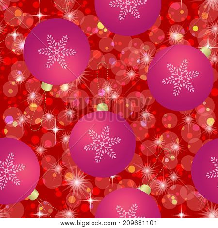 Christmas Seamless Red Tile Background for Holiday Design with Balls, Snowflakes and Stars. Eps10, Contains Transparencies. Vector