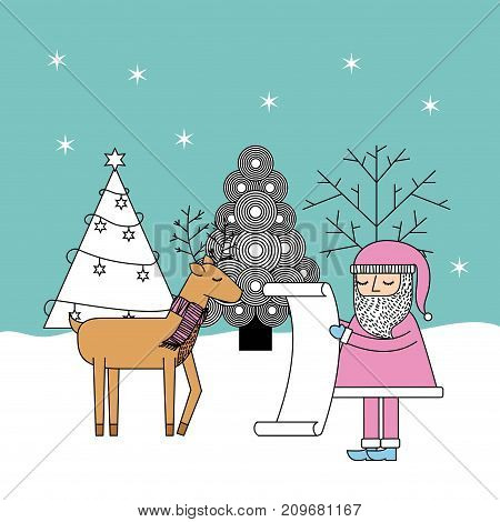 christmas santa check list gifts reindeer and tree celebration vector illustration