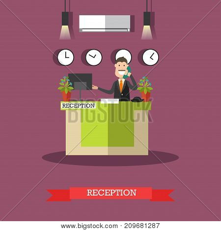 Hotel reception concept vector illustration. Hotel worker receptionist male standing at reception desk and talking on the telephone flat style design element.