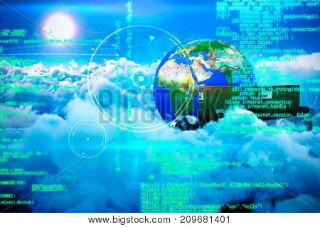 Blue programme against scenic view of bright sun over white cloudscape