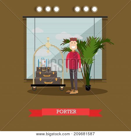 Vector illustration of bellhop standing next to luggage cart with suitcases. Hotel porter concept design element in flat style.