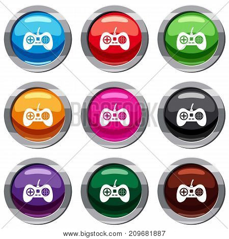 Video game console controller set icon isolated on white. 9 icon collection vector illustration
