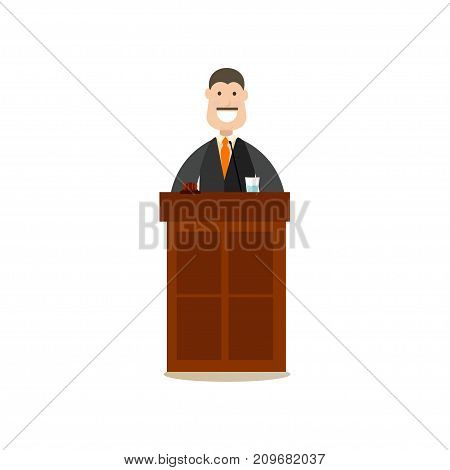 Vector illustration of professional judge in robe standing at tribune. Law court people flat style design element, icon isolated on white background.