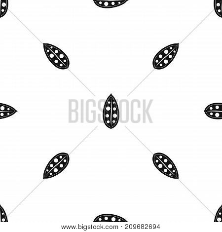 Cocoa pod pattern repeat seamless in black color for any design. Vector geometric illustration