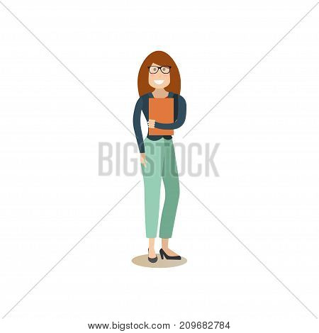 Vector illustration of witness female waiting to provide testimonial evidence in court. Law court people flat style design element, icon isolated on white background.