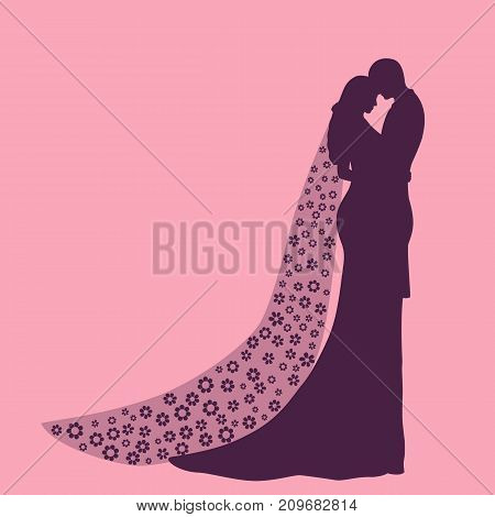 Silhouette of bride and groom on a pink background. Flower composition.
