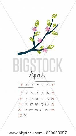 Calendar 2018 months April. Week starts from Sunday. Hand drawn with flowering tree branch eps 10