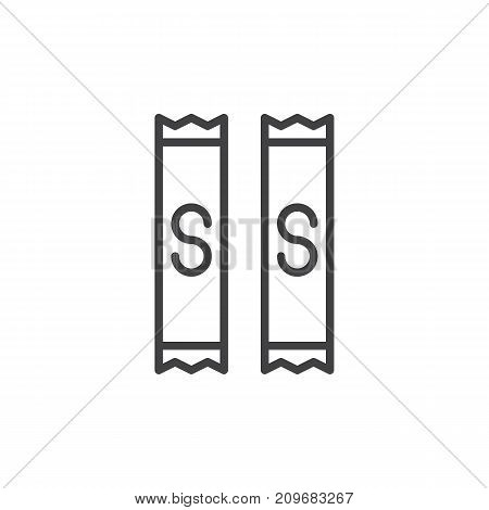 Sugar bag line icon, outline vector sign, linear style pictogram isolated on white. Symbol, logo illustration. Editable stroke