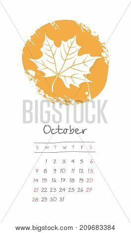 Calendar 2018 months October. Week starts from Sunday. Hand drawn with fallen yellow leaf eps 10