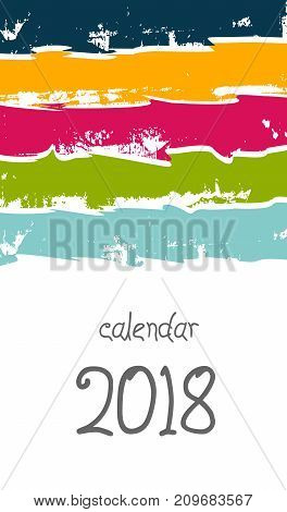Cover Desk Calendar 2018 happy new year book cover booklet annual report poster presentation cover template catalog brochure flyer magazine ads. Hand drawn with colored strips