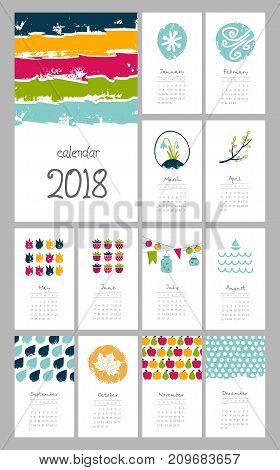 Calendar 2018 year hand drawn. Week starts from Sunday eps 10