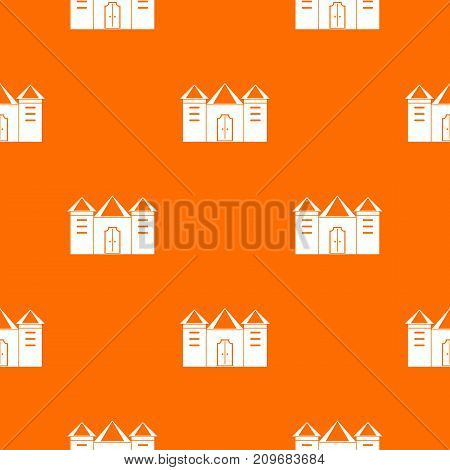 Wall and gate of the old fortress pattern repeat seamless in orange color for any design. Vector geometric illustration