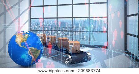 3D image of planet Earth by cardboard boxes on production line against binary codes and people icons