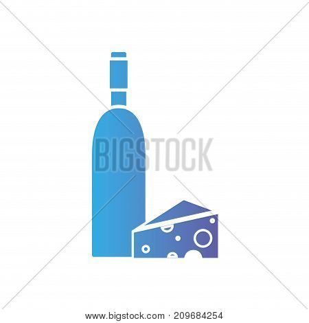 line wine bottle with cheese food vector illustration