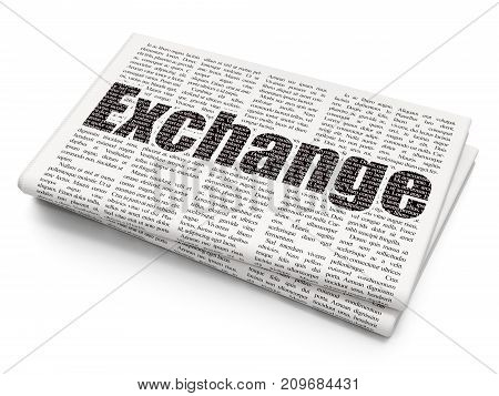 Currency concept: Pixelated black text Exchange on Newspaper background, 3D rendering