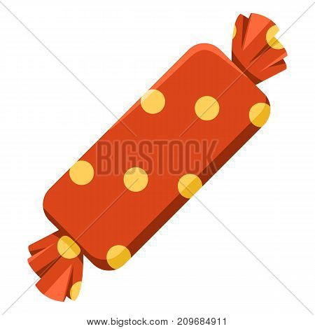 Vector Color Icon - Rectangular Candy In Red Wrapper