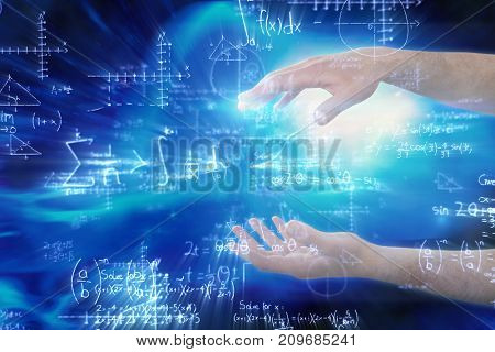 Cropped hands of man gesturing against illustration of mathematical equations with solution