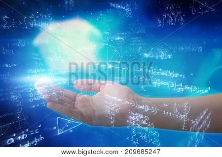Cropped hand of woman offering against digitally generated image of mathematical equations with diagram solved