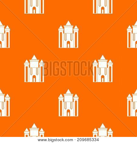 Ancient fort pattern repeat seamless in orange color for any design. Vector geometric illustration