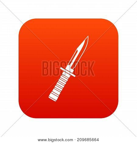 Military knife icon digital red for any design isolated on white vector illustration