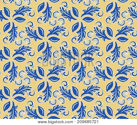 Floral vector blue ornament. Seamless abstract classic background with flowers. Pattern with repeating elements