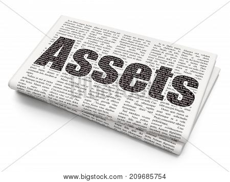 Money concept: Pixelated black text Assets on Newspaper background, 3D rendering