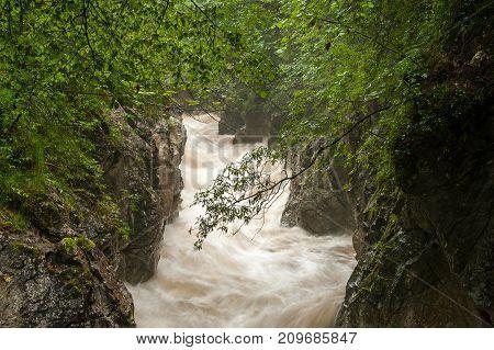 Rettenbach River After Heavy Rainfall In Summer