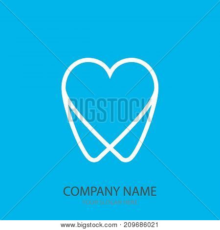Logo Tooth In The Form Of Heart Blue Background