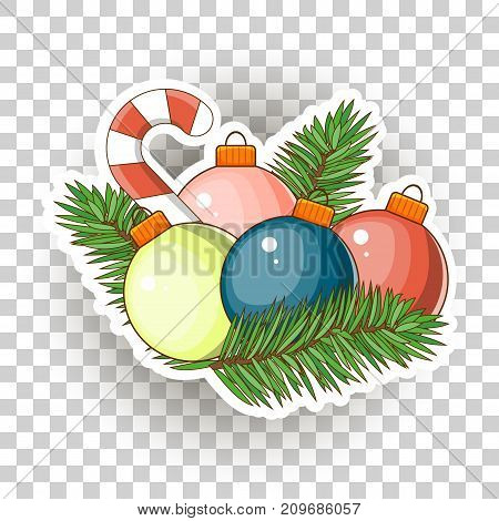 Christmas sticker icons. Stock Vector. Large Christmas balls and candy candy.