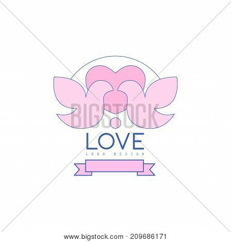 Cute thin line logo design with love doves, heart and ribbon. Pigeons badge for greeting card, poster wedding agency, salon. Lovely image for save date wedding invitation. Vector on white background