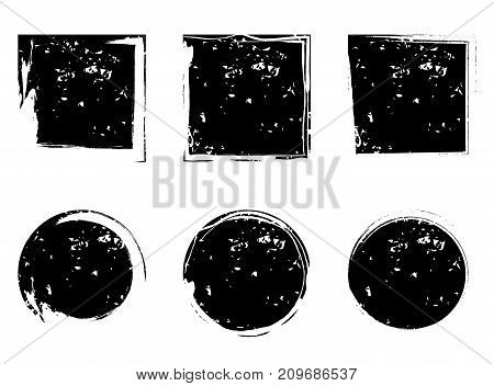 Circles And Square Grunge Shapes, Vector Element
