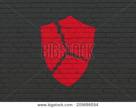 Privacy concept: Painted red Broken Shield icon on Black Brick wall background
