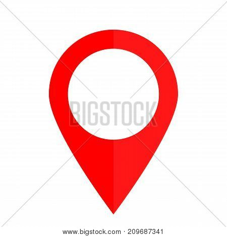 Pin Red Colored Icon On A White Background