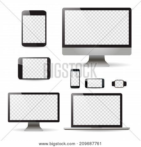 Mockup Set Realistic Monitors Laptop Tablet And Phone Vector Illustration